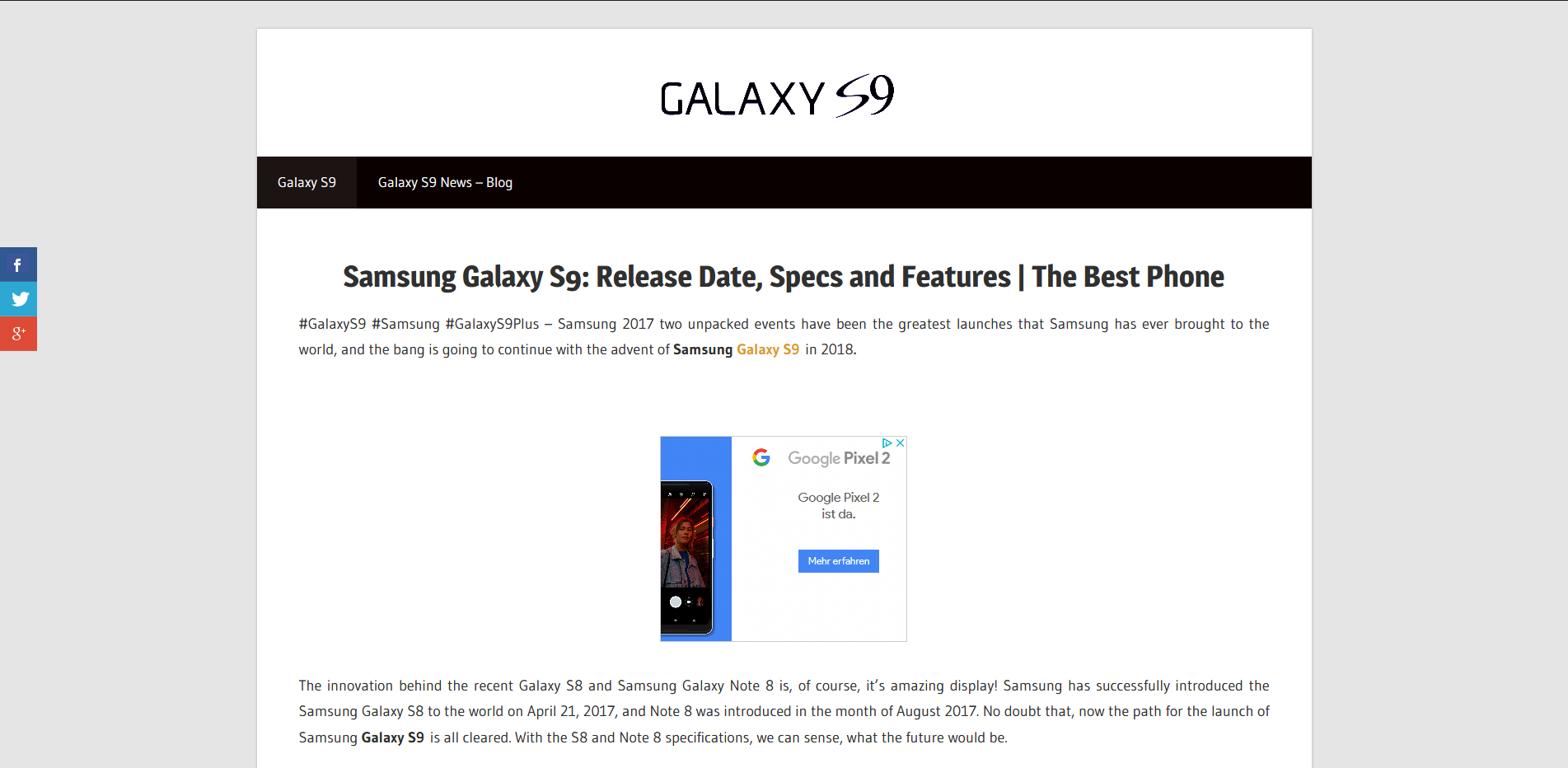 Samsung Galaxy S9 BLOG