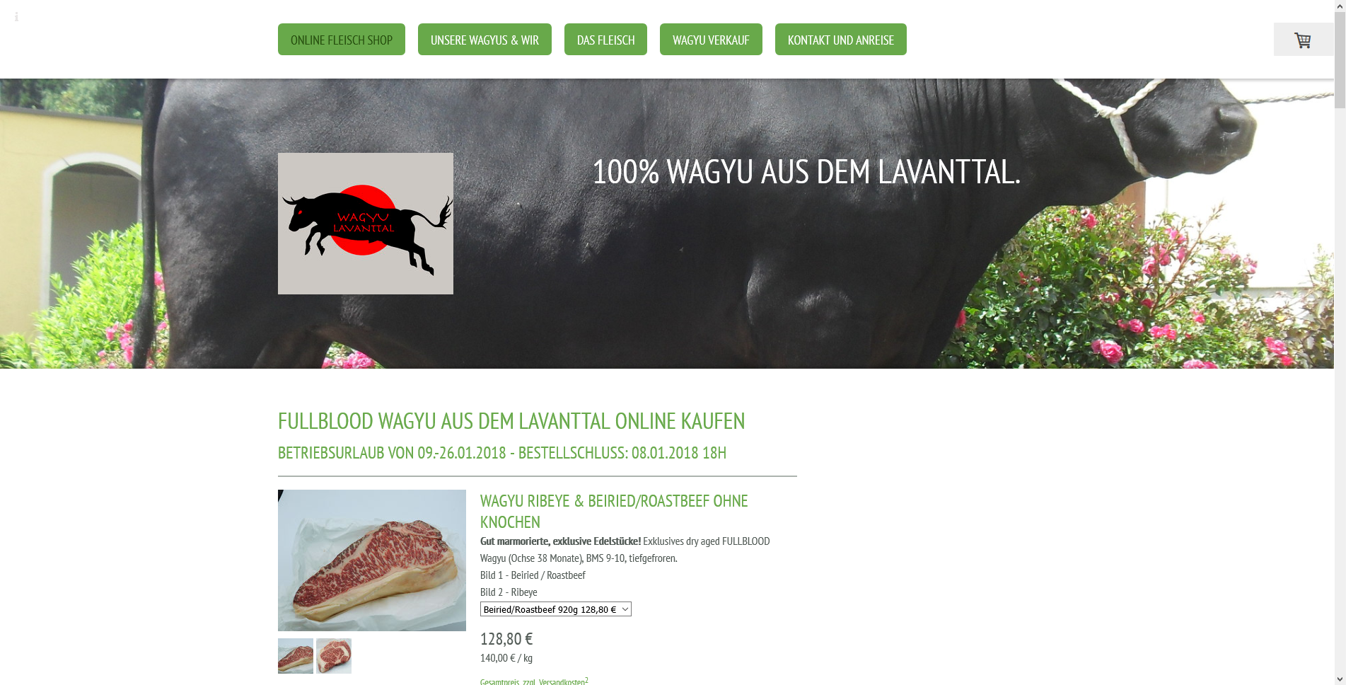 Wagyu Shop Oesterreich Zarte Steaks vom japan. Sch
