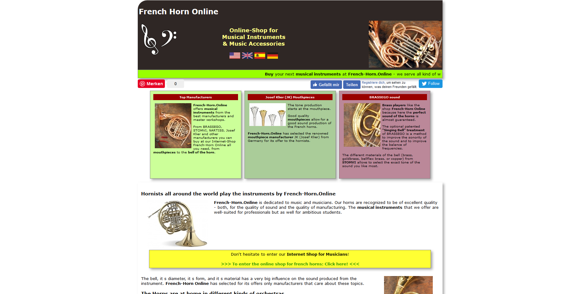 French-Horn Online - the online-shop for brass ins