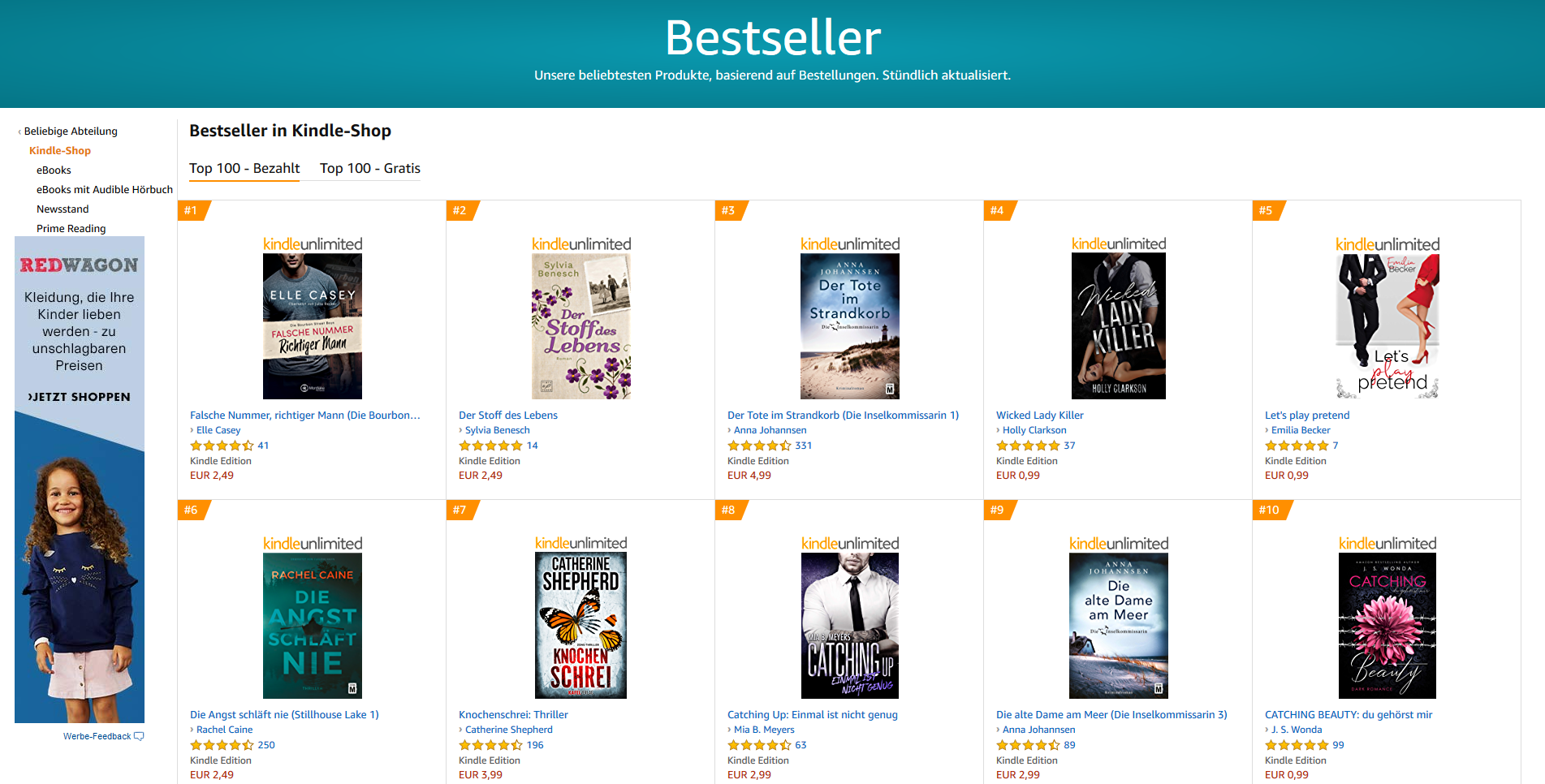Bestseller in Kindle-Shop Top 100 gratis - bezahlt